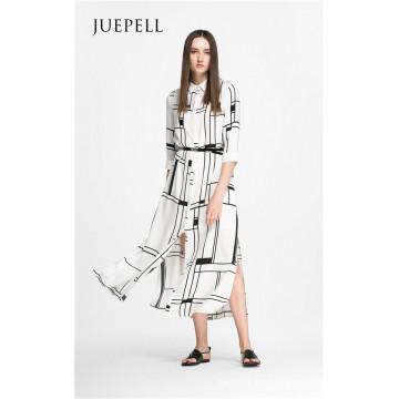 Vestido de mujer de la camisa de moda de estampado cuadrado