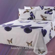 2017 el hogar más nuevo usado El lecho de lino de la tela de la tela de la tela colorida colorida del lecho fijó las hojas de cama blancas del algodón del 100% BS02