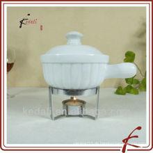 Porzellan-Minischokoladen-Fondue-Set mit Gabel