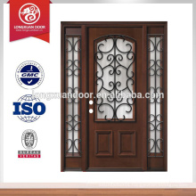 Iron grille mahogany wood door with sidelites