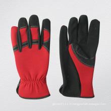 Gants en microfibre de fibre de verre Spandex arrière rouge-7210