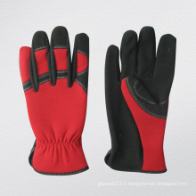 Micro Fiber Palm Spandex Back Red Mechanic Glove-7210