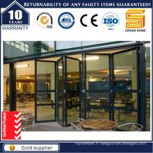 Porte double pliante en aluminium robuste avec double vitrage