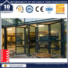 Double Tinted Glass Aluminum Folding Door with Mosquito Nets