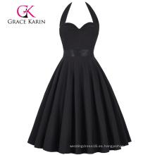 Grace Karin Retro Vintage Sweetheart Backless Halter Nylon-Algodón Black Party Picnic vestido CL008950-1