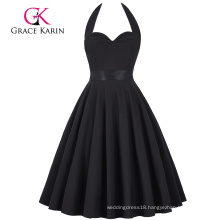 Grace Karin Retro Vintage Sweetheart Backless Halter Nylon-Cotton Black Party Picnic Dress CL008950-1