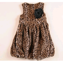 girls party woolen dress for winter leopard princess fashion dress for kid
