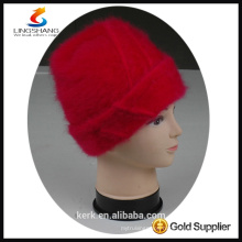 DSC9590 lingshang angora high quality winter Custom Crocheting Knitted Beret hat for sale