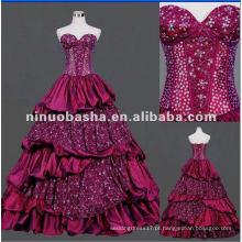 Sweetheart Decote com o vestido de noiva Appliqued Lace