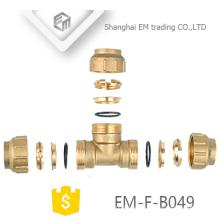 EM-F-B049 Messing 3-Wege-Kompressionsrohr für Spanien Kupfer Tee PEX Fitting