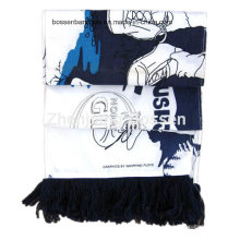 Custom Made Logo Printed Cotton Long Promotional Match Cheering Headband Football Scarf