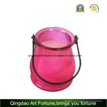 Lanterna de jardim de vidro com vela de citronela para exterior e jardim