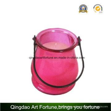 Linterna de jardín de vidrio con vela de citronela para exterior y jardín