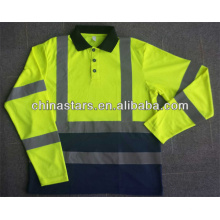 Reflective Contrast Color Polo Shirt Long Sleeves in Assorted Color Combination