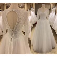 С длинным рукавом свадебное платье с бриллиантом