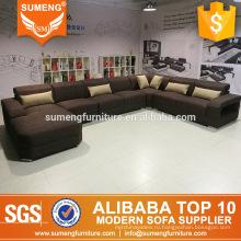 европейский стиль дешевые гостиная мебель U-образный софы ткани установленная для продажи