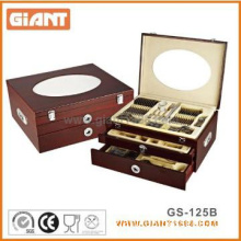 High Class 125pcs Stainless Steel Cutlery Set with Wooden Box