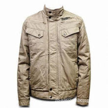 Men's Cotton Jacket in Fashionable Design, Available in Cream Color