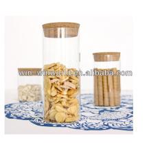 500ml pot hermétique en verre de dessus de liège pour la sucrerie en vente