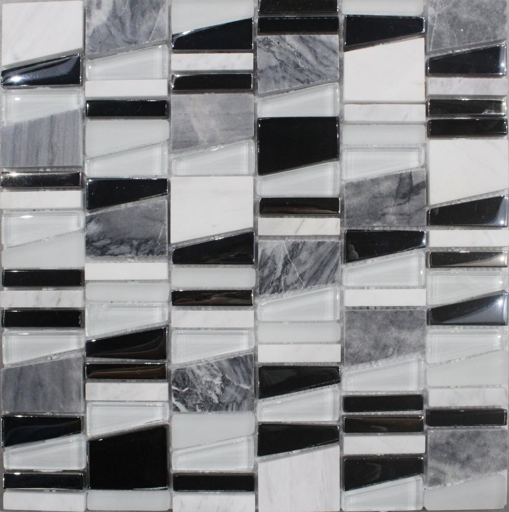 Electroplate Irregular Chip Glass Mosaic Tile
