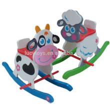 Sichere hölzerne Tiere Traditionelles Schaukelpferd Schwingen Reiten auf Spielzeug gemalt
