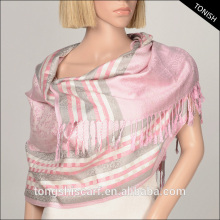 2016 Autumn/Winter shawl hijab and Jacquard stripe pashmina with yarn dyed pattern scarf