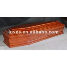 caixão de madeira de formato