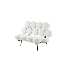 Nelson Loveseat Marshmallow Lounge Leather Upholstered Sofa