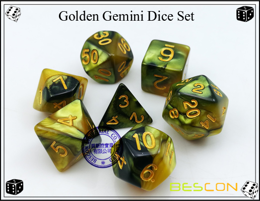 Golden Gemini Dice Set