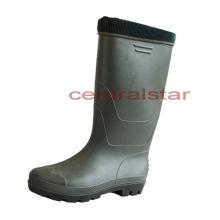 Dernière mode genou haute PVC imperméable bottes chaudes (66750)