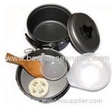 High Quality Camping Cookware 1 - 2 Rigid Aluminum Nonstick Outdoor Cooking Utensils Set Picnic Pot