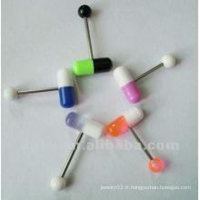 Puces à la mode Acrylique Barbell Tongue Rings