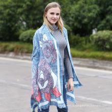 Moda feminina algodão macio floral xale Viscose senhora moda impresso lenço