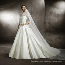Lace Bodice Full Sleeve Satin Wedding Dress