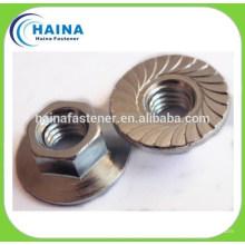 Porca de flange de aço inoxidável SS316 / SS304