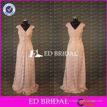 ЭД элегантные Свадебные Cap рукавом V шеи длинные линии тафты персикового мать невесты платье 2017