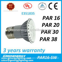 UL listed dimmable PAR16 E27/E26 bulb LED lighting spotlight
