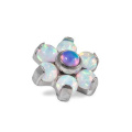 Opal Flower G23 Titanium Internally Threaded Dermal Anchor Top Opal Flower G23 Titanium Internally Threaded Dermal Anchor Top