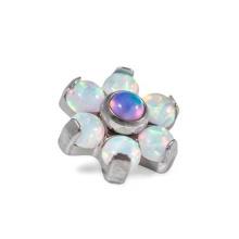 Fleur d'opale G23 titane intérieurement ancré dermique haut d'opale Fleur d'opale G23 titane intérieurement ancré dermique