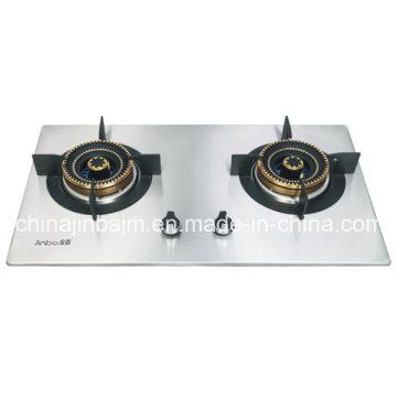 Plaque de cuisson intégrée en acier inoxydable à 2 brûleurs à la flamme bleue