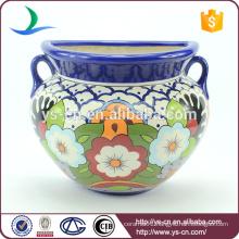 YSfp0010-02 Handprint ceramic modern flower pot with ear handle