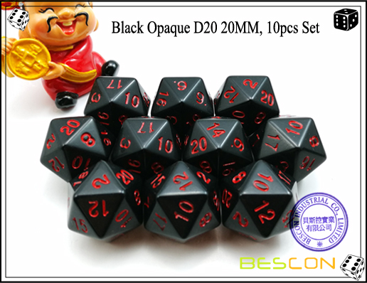 Black Opaque D20 20MM, 10pcs Set-2