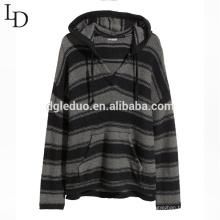 Suéter con cuello en V de la nueva raya de la moda para hombre con capucha y bolsillo