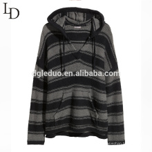 New fashion stripe men v neck hooded pullover sweater with pocket