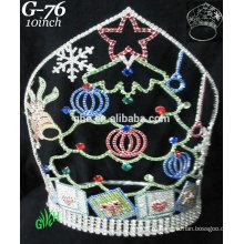 Новые конструкции королевских аксессуаров rhinestone оптовой тиары и короны рождества