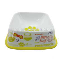 Promotional colorful paw printed dog bowls