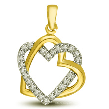 18k Gold Over 925 Silver Jewelry Double Heart Silver Pendants