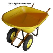 Wh8802 Chariot de jardin en bois antique avec plateau en plastique