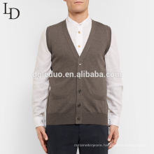 Hot sale wholesale men sleeveless cardigan wool knit v neck sweater vest