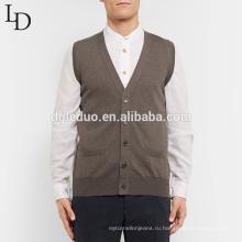Горячая распродажа оптовая продажа мужчины без рукавов кардиган шерсть трикотажа V шеи свитер жилет